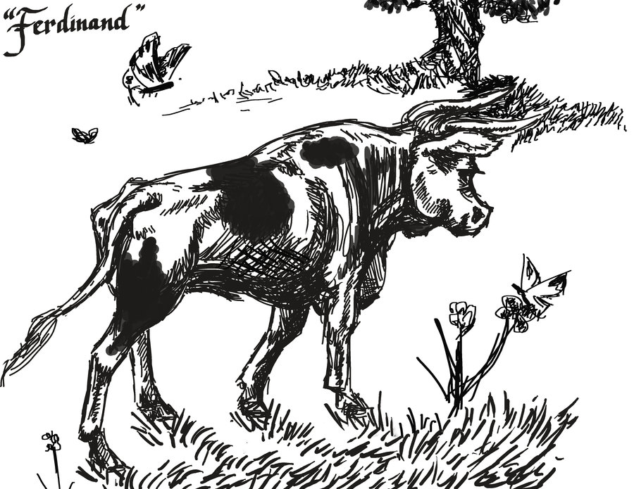 ferdinand_the_bull__bw_by_lynxmom-d3k5av8